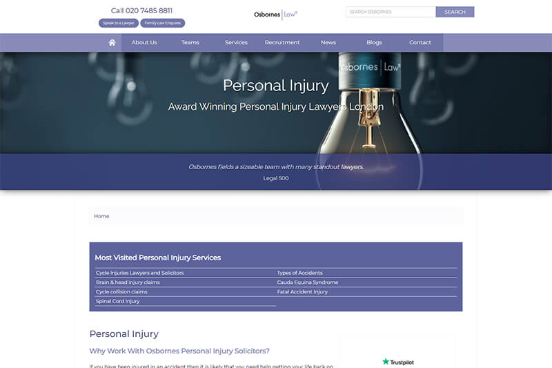 Osborne Law injury lawyers in London for compensation claims